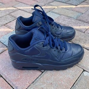 Nike Air Max 90 LTR GS Navy Shoes Leather Sz 5.5Y